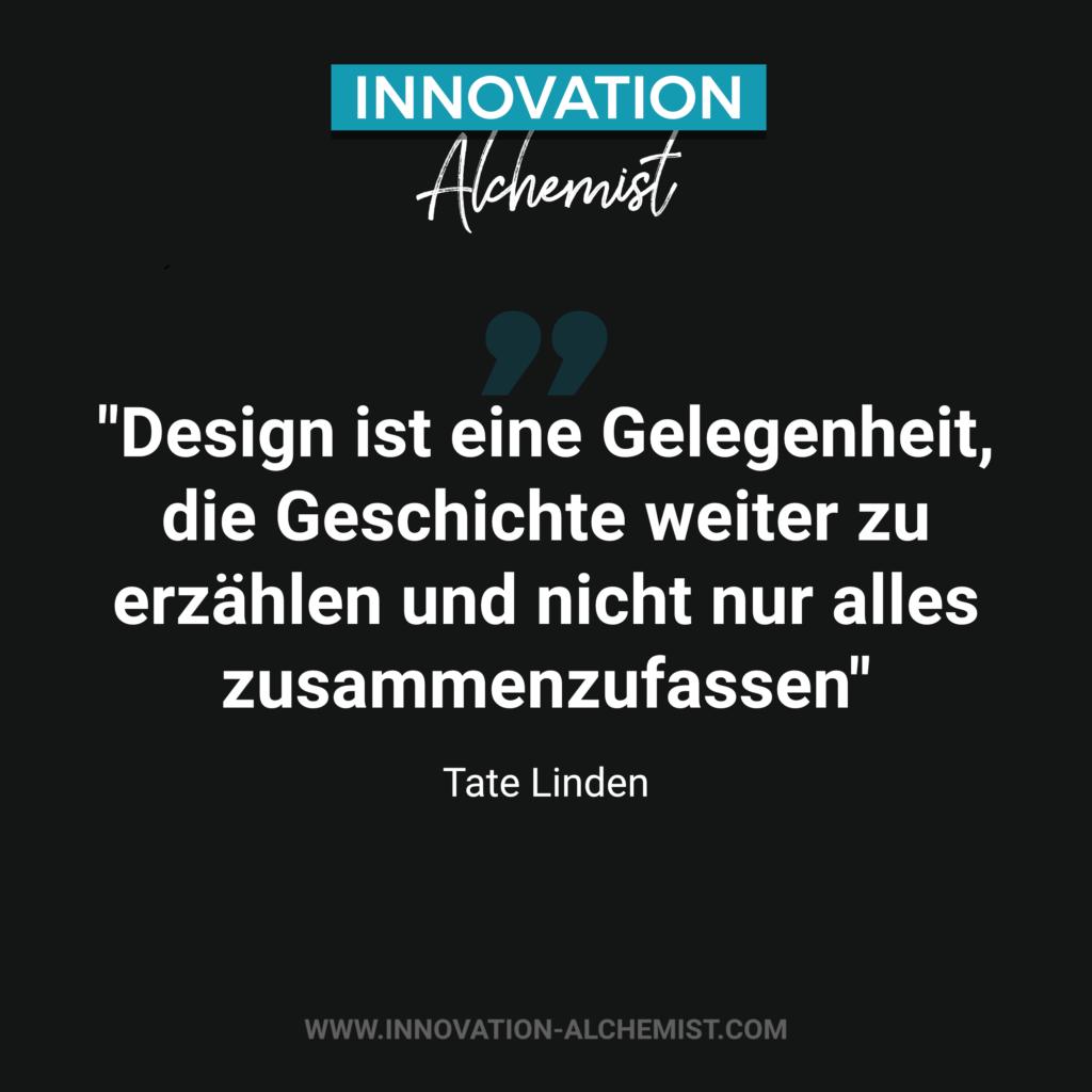 Zitat Innovation: Design ist eine Gelegenheit, die Geschichte weiter zu erzählen und nicht nur alles zusammenzufassen